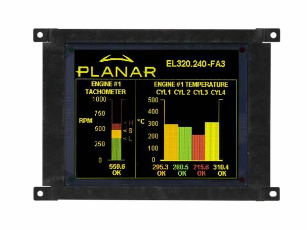 Многоцветный электролюминесцентный QVGA-дисплей EL320.240 FA3 с защитным покрытием
