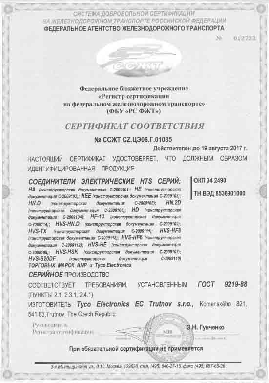 Сертификация соединителей для РЖД