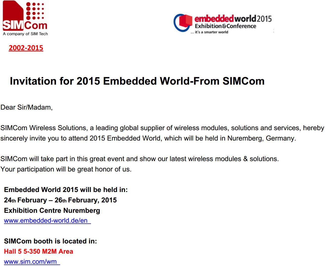 SIMCom приглашает на Embedded World 2015 и Mobile World Congress 2015