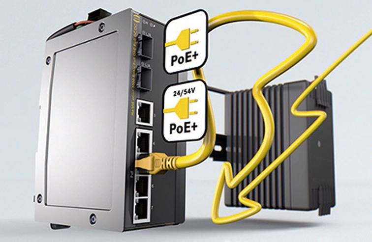 Коммутаторы HARTING  с поддержкой PoE+ – 2 в 1 (передача данных и подача питания)
