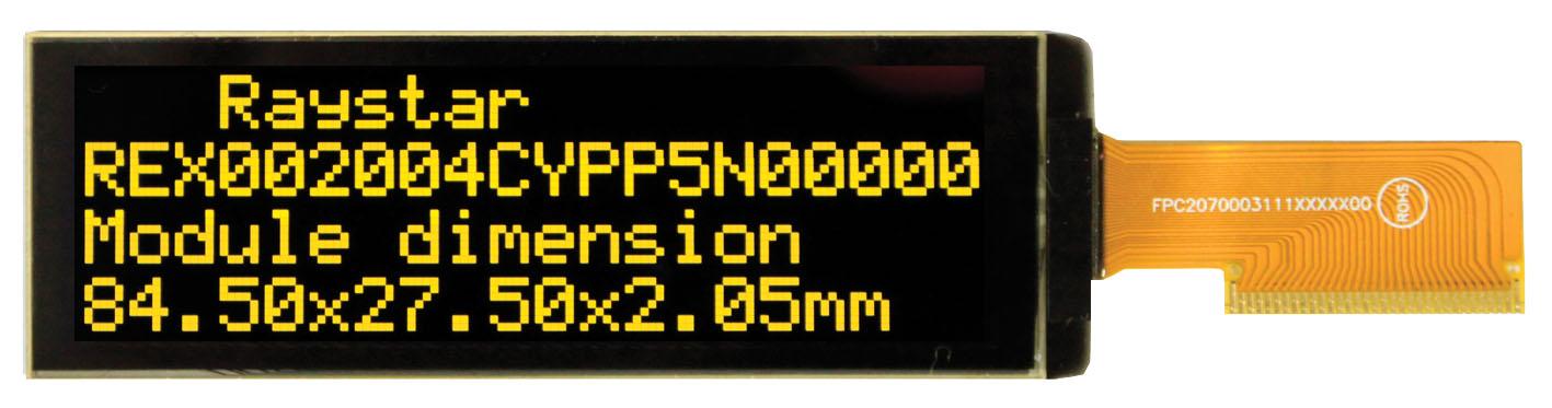 """Символьный OLED-дисплей REX002004C с размером  экрана 2,89"""""""