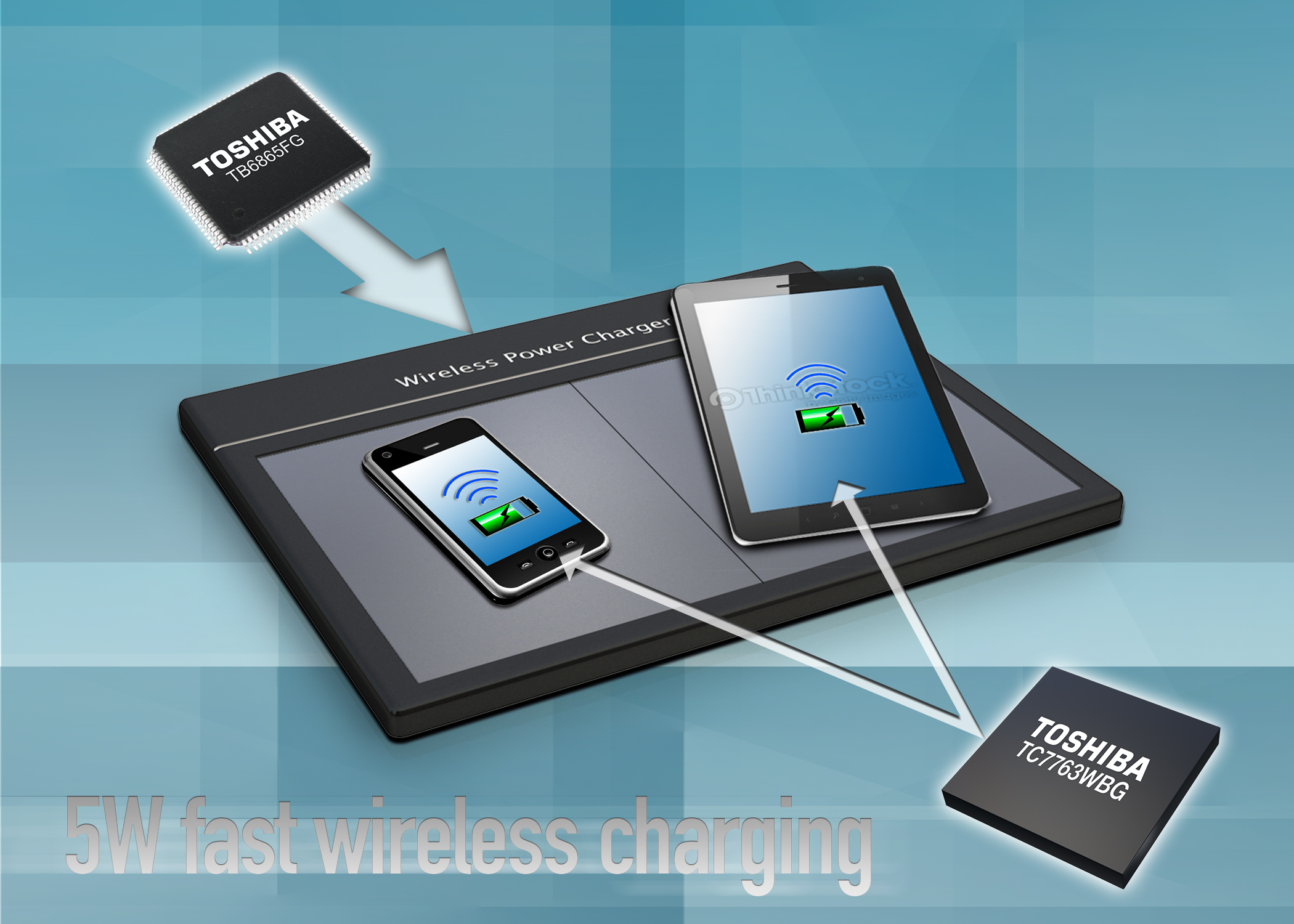 Toshiba начинает выпуск 5-Вт набора микросхем для быстрой беспроводной зарядки