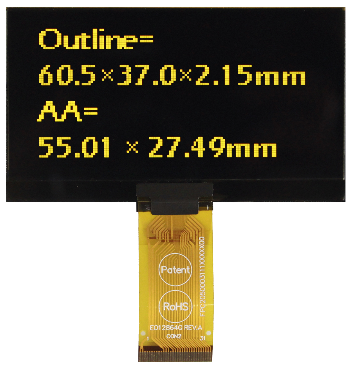 """Малогабаритный 2,7"""" графический дисплей OLED REX012864K"""