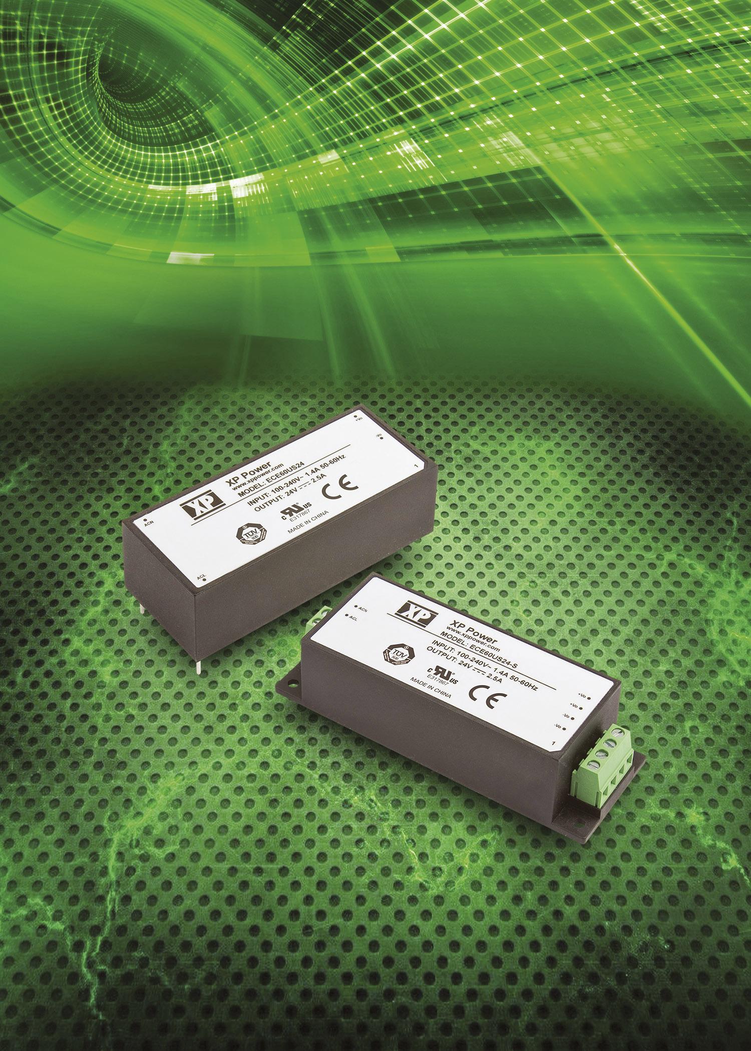 Самые компактные 60 Вт  AC/DC-преобразователи для монтажа на печатную плату  и шасси