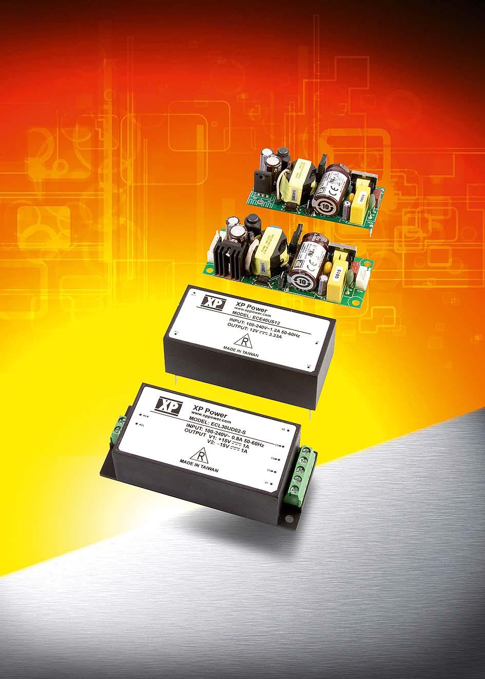 Сверхкомпактные 15…40-Вт источники питания AC/DC для установки на печатную плату или шасси