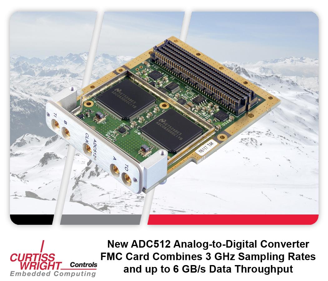 Curtiss-Wright ADC512: двухканальный АЦП 8 бит/3 ГГц в формате FMC (FPGA Mezzanine Card)