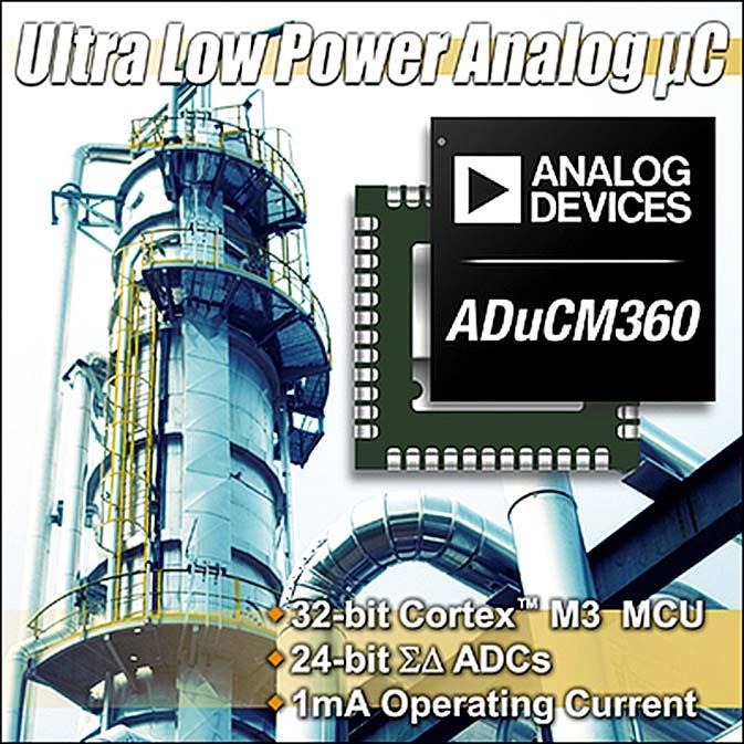 Новые аналоговые микроконтроллеры компании Analog Devices с ядром ARM CORTEX M3 и 24-битными АЦП