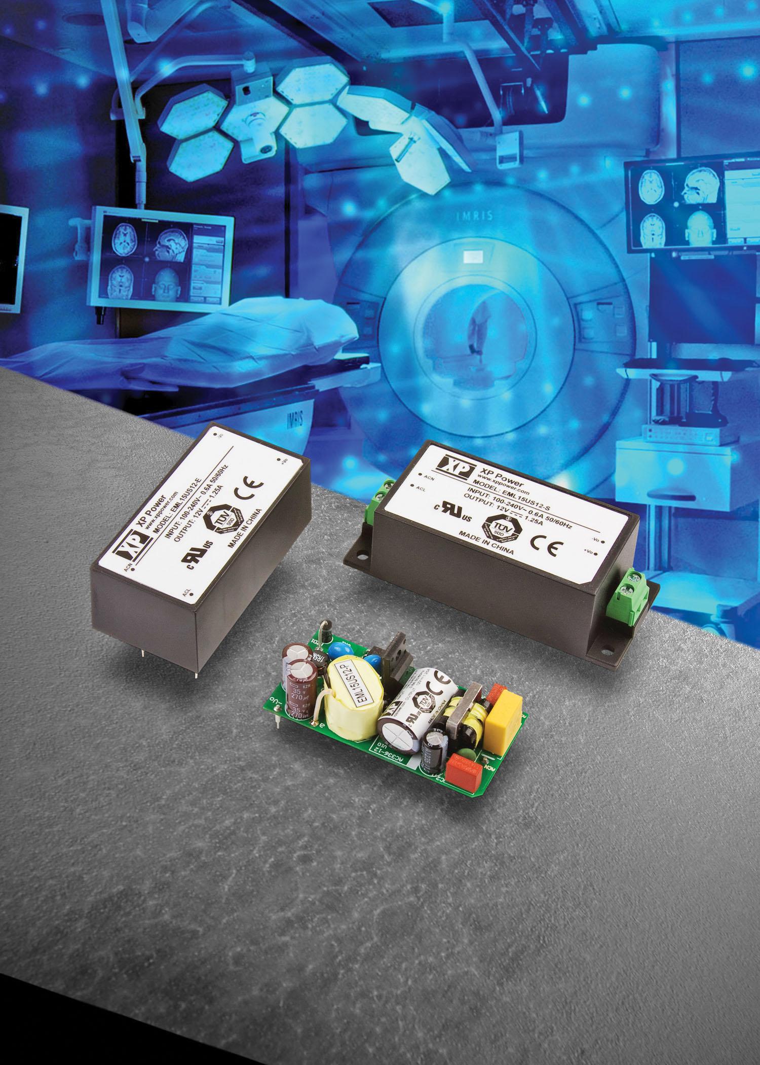 Ультракомпактные 15-ваттные ИП для медицинского оборудования