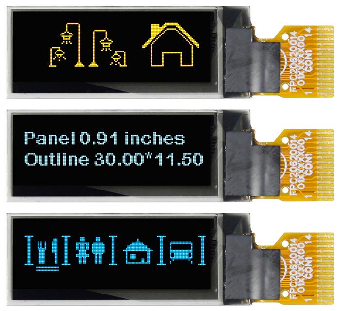 """Малоформатный графический OLED-дисплей с размером экрана 0,91"""""""