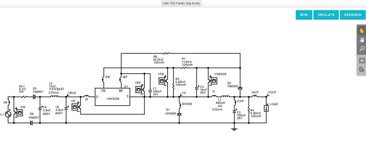 Онлайн моделирование упрощает разработку на микросхемах LinkSwitch-TN2